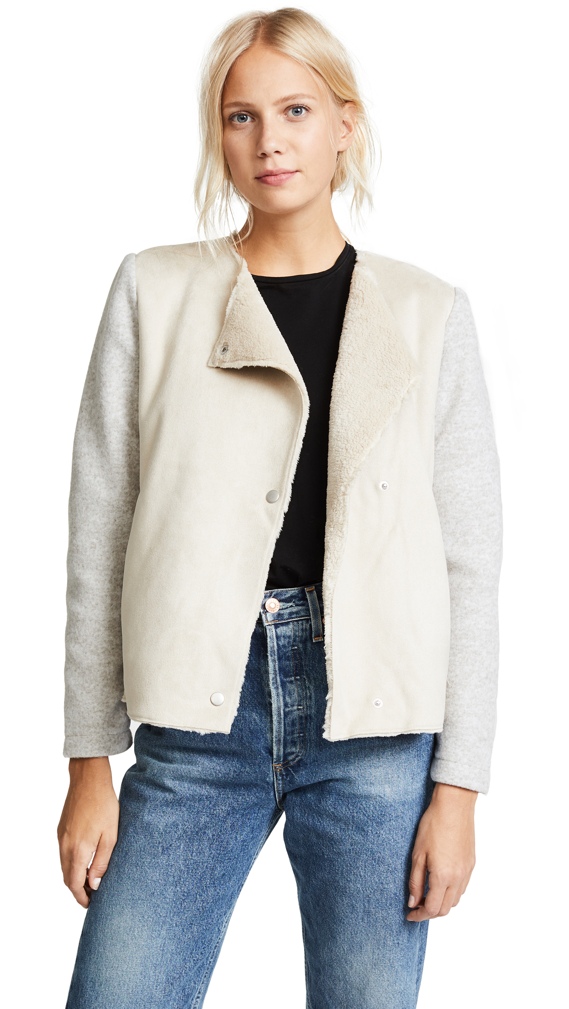 BB Dakota Glenna Bonded Faux Suede Jacket - Bone