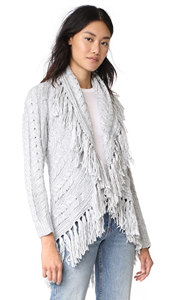 BB Dakota Karli Fringe Shawl Collar Cardigan at Shopbop