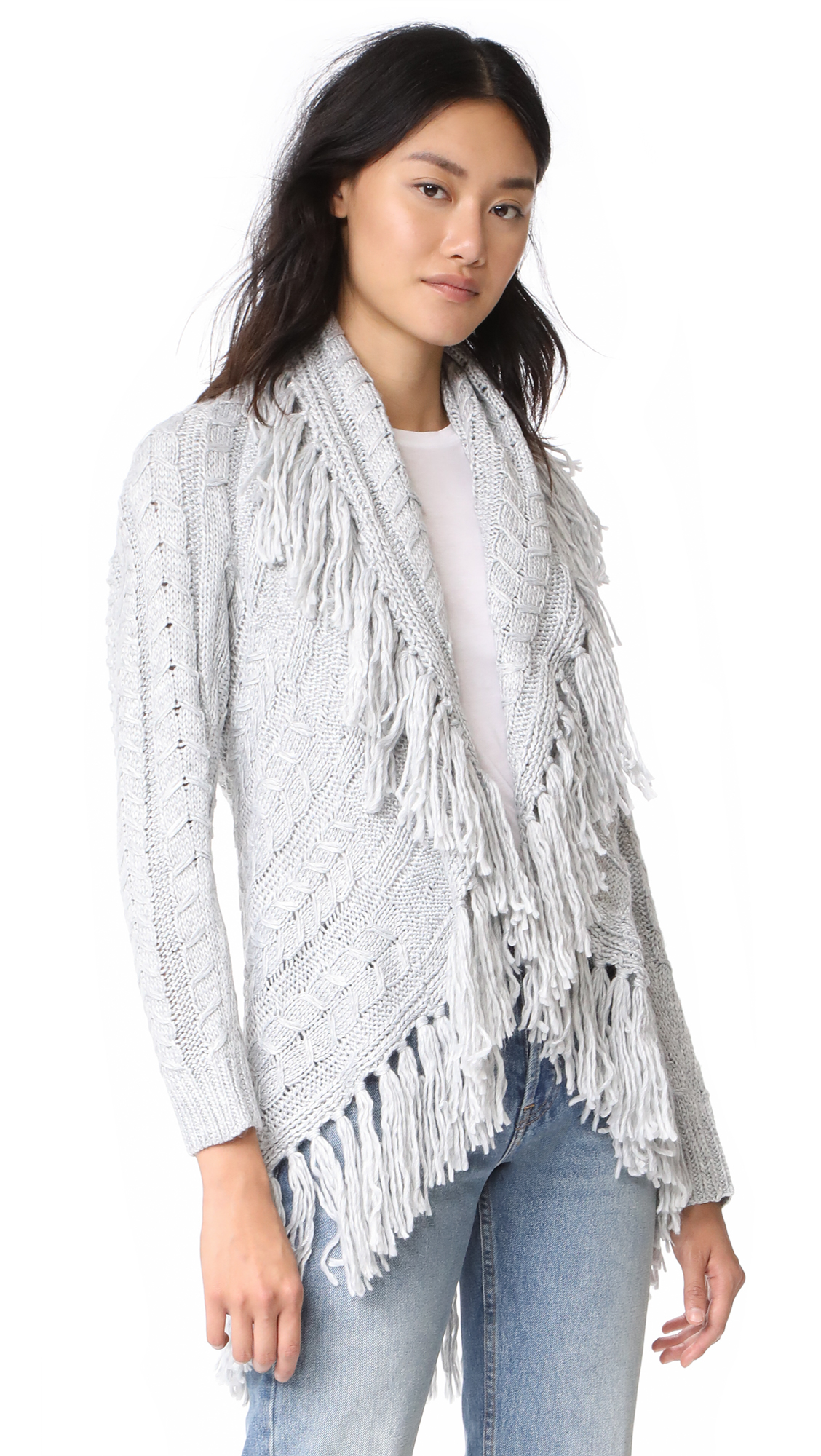 BB Dakota Karli Fringe Shawl Collar Cardigan - Light Heather Grey