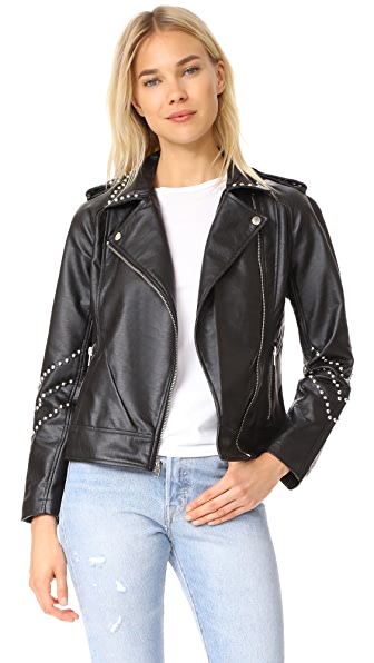 BB Dakota Jerilyn Studded Washed Jacket - Black