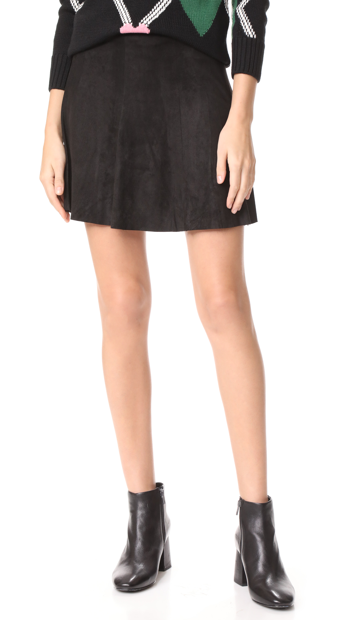 BB Dakota Aileen Faux Suede Skirt - Black