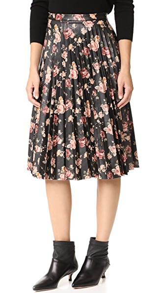 BB Dakota Abela Printed Pleated Skirt - Dark Brown
