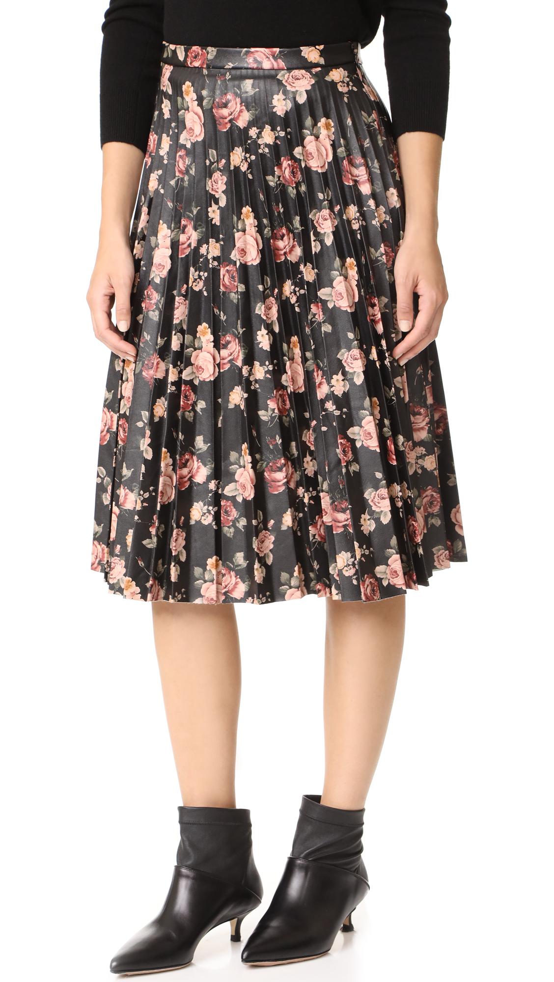 BB Dakota Abela Printed Pleated Skirt - Dark Brown