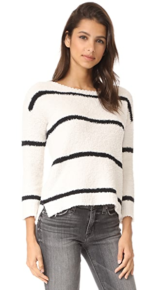 BB Dakota Karin Striped Chenille Sweater - Oatmeal