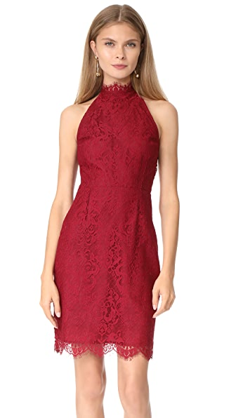 BB Dakota Cherie High Neck Lace Dress - Pomegranate