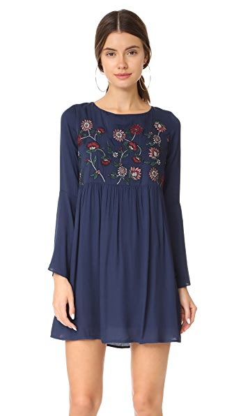 BB Dakota Bria Embroidered Tie Back Dress In Imperial Blue