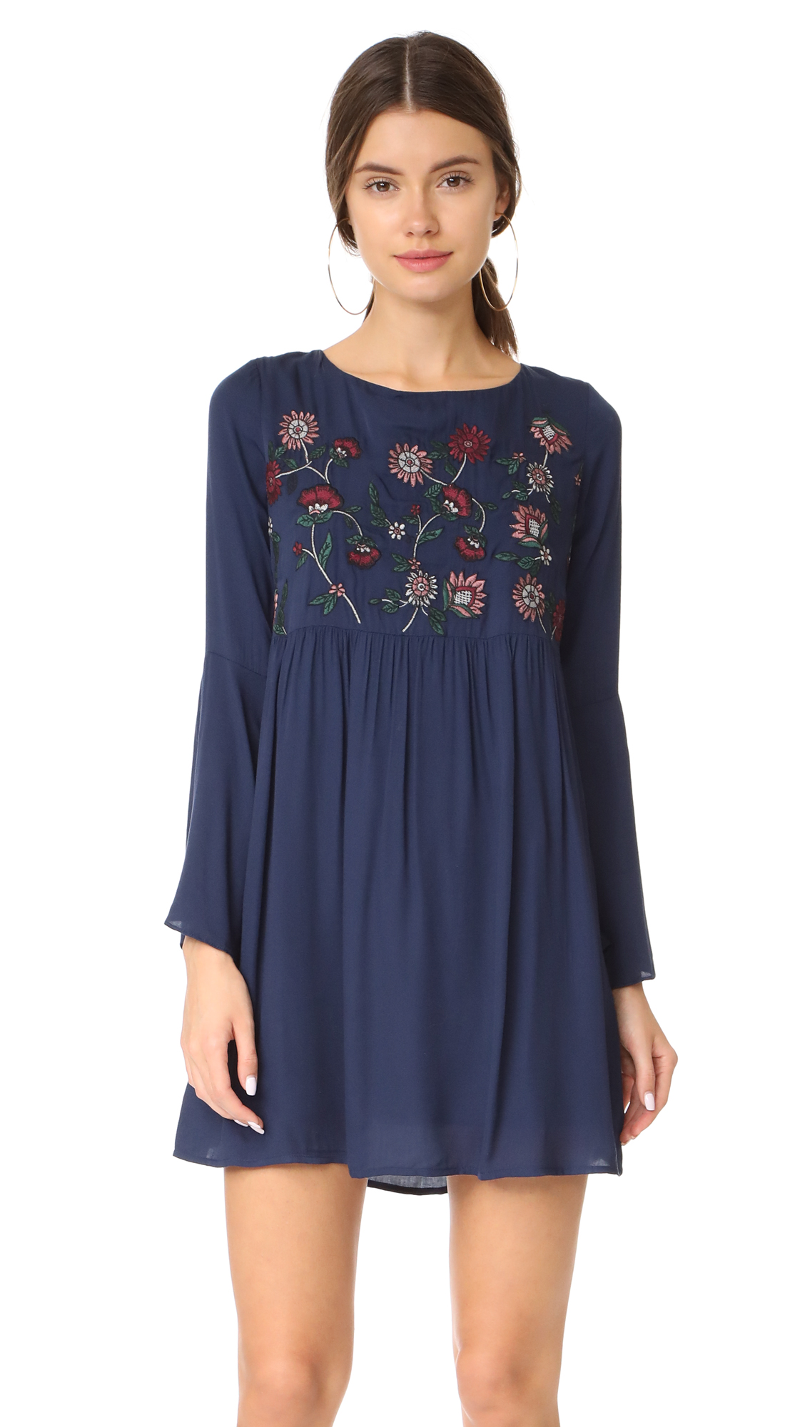 BB Dakota Bria Embroidered Tie Back Dress - Imperial Blue