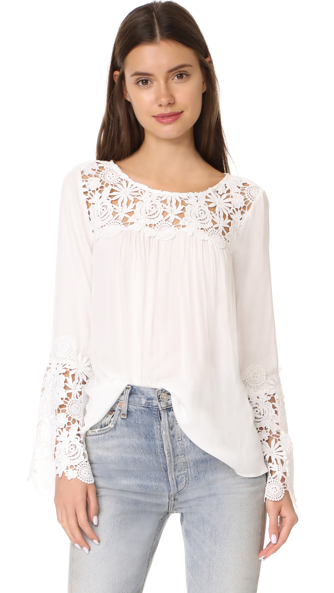 BB Dakota Zanna Lace Long Sleeve Top - Ivory