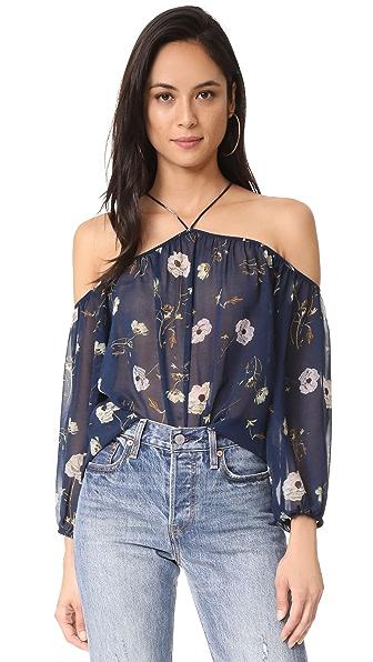 BB Dakota Madeline Camellia Printed Off Shoulder Top In Imperial Blue