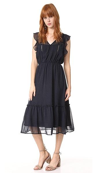 BB Dakota Carra Polka Dot Printed Dress - Navy