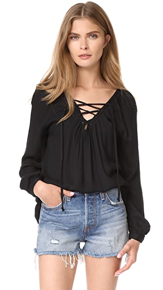 BB Dakota Jack by BB Dakota Boothe Lace Up Top - Black