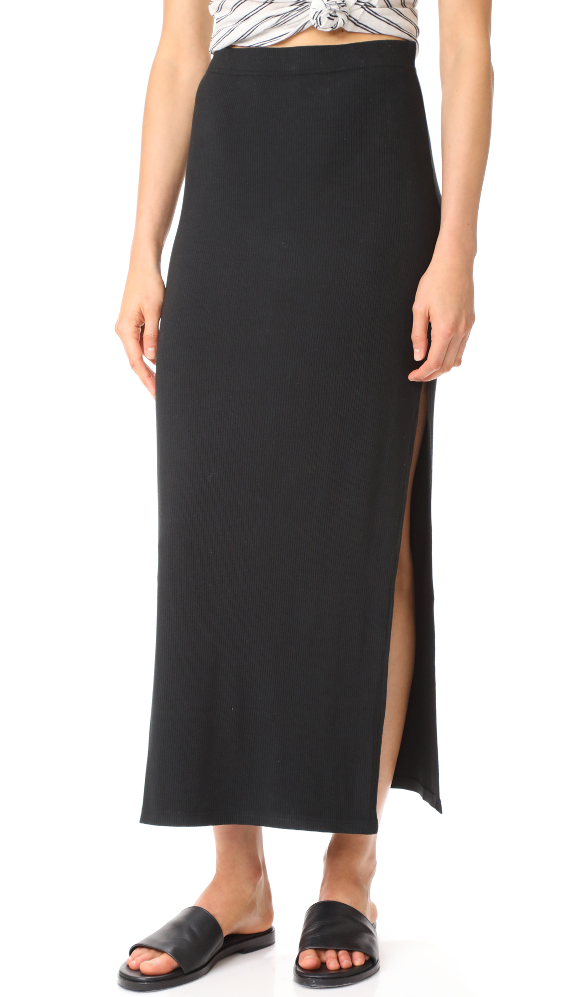 BB Dakota Jack by BB Dakota Mattison High Slit Skirt - Black