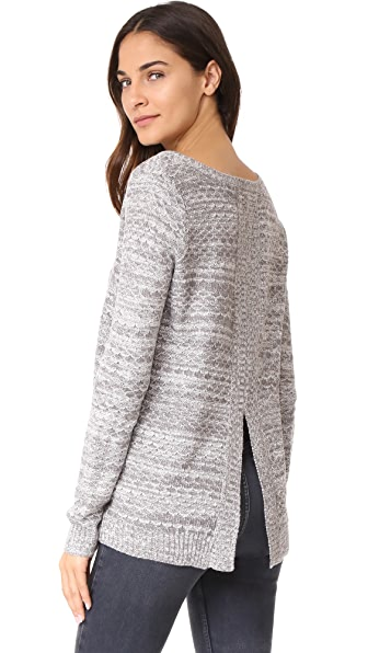 BB Dakota Jack by BB Dakota Bartlett Back Slit Sweater In Charcoal Grey