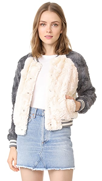 BB Dakota Aisen Faux Fur Color Blocked Bomber - Ivory