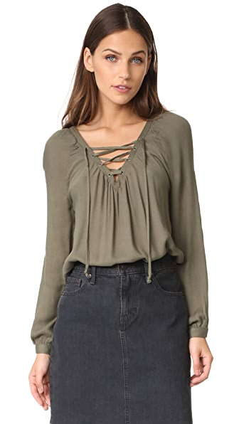 BB Dakota Jack by BB Dakota Boothe Lace Up Top - Light Olive