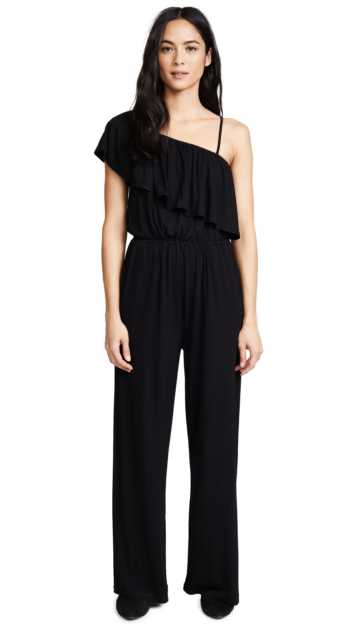 BB Dakota Maryana One Shoulder Ruffle Jumpsuit - Black
