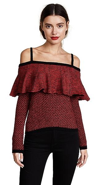BB Dakota Debeney Ruffle Sweater In Rose Red