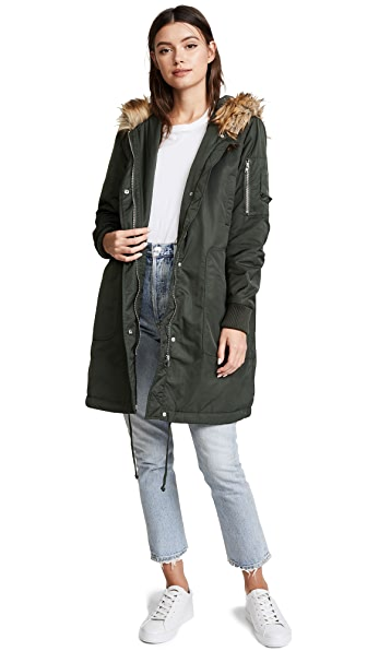 BB Dakota Hooded Anorak with Faux Fur Trim at Shopbop