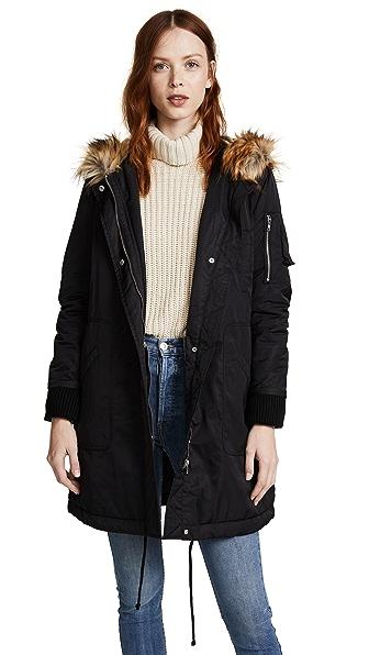 BB Dakota Hooded Anorak with Faux Fur Trim In Black