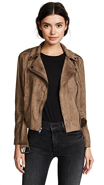 BB Dakota Waller Faux Suede Moto Jacket In Mocha