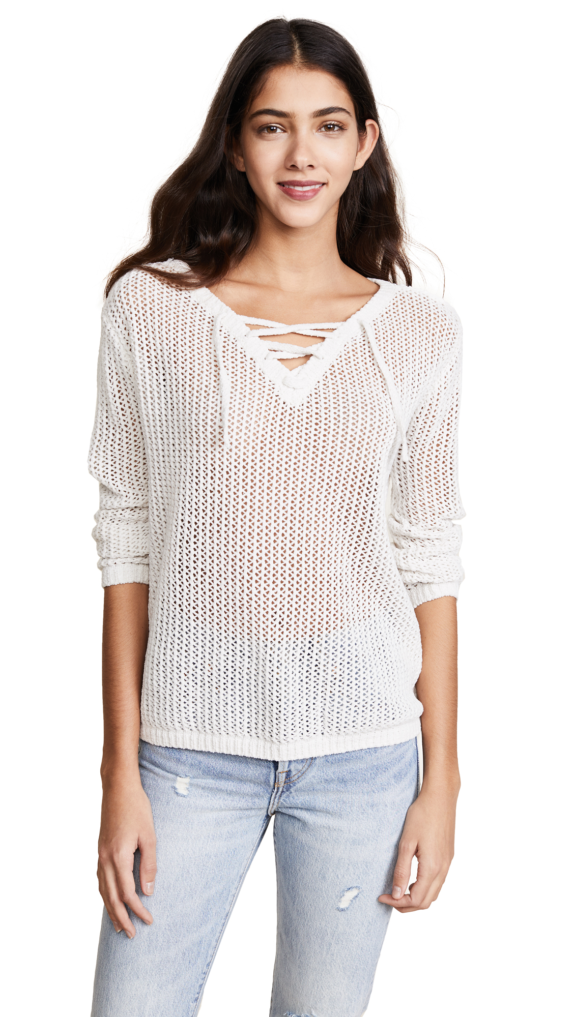 BB Dakota Lily Lace Up Sweater - Dirty White