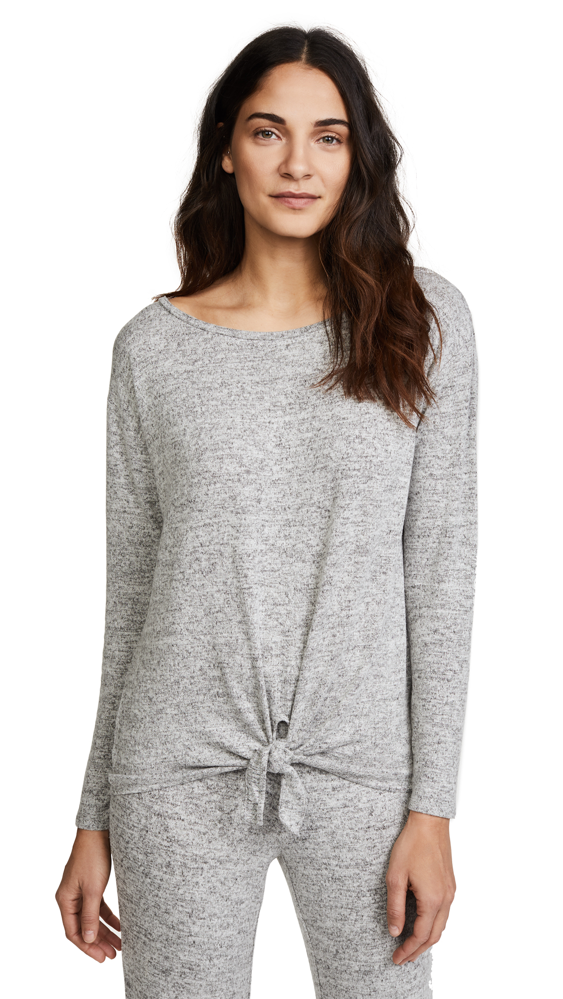 BB Dakota Tie Front Top - Heather Grey