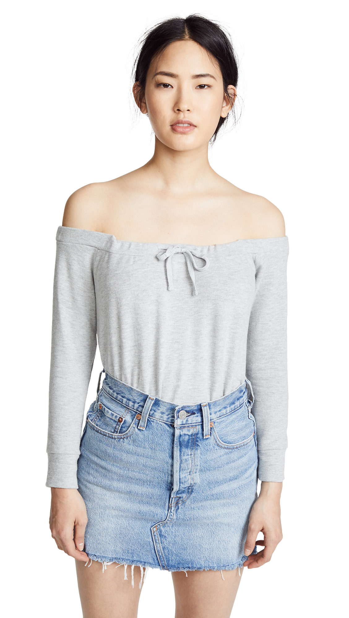 BB Dakota Hacci Off The Shoulder Sweatshirt In Heather Grey