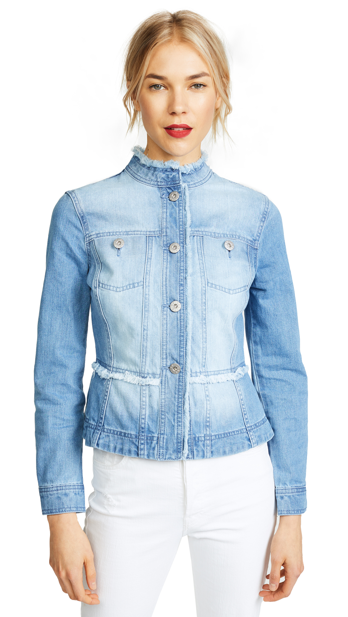 BB Dakota Coletta Denim Peplum Jacket In Light Blue