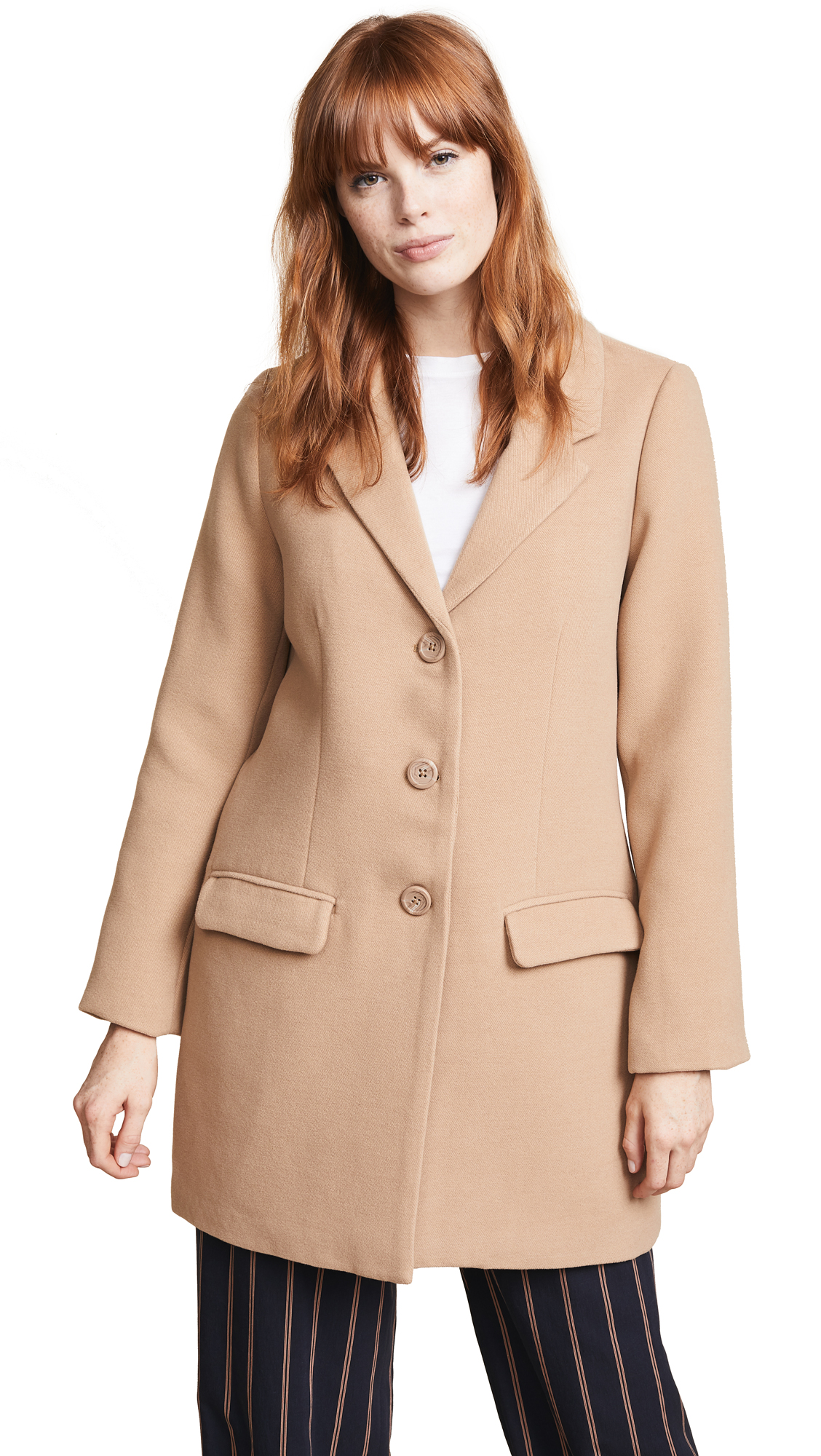Fabric: Brushed felt Knee length Collared neck Long sleeves Button at placket Flap front pockets Lined Shell: 94% polyester/4% rayon/2% spandex Lining: 100% polyester Wash cold Imported, China Measurements Measurements from size S Length: 32.25in / 82cm, from shoulder