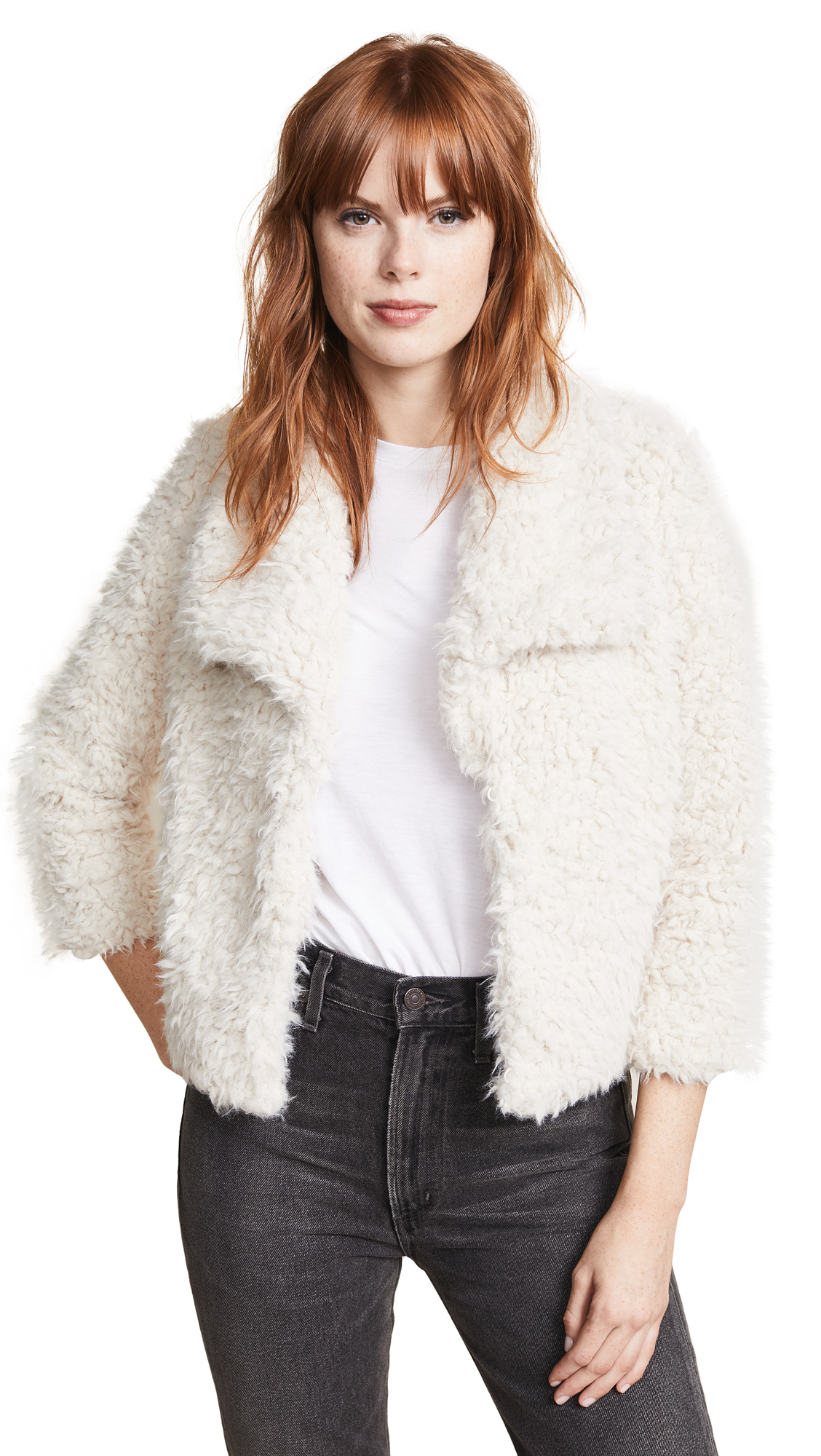 BB Dakota Hugs Don't Lie Faux Fur Jacket In Ivory