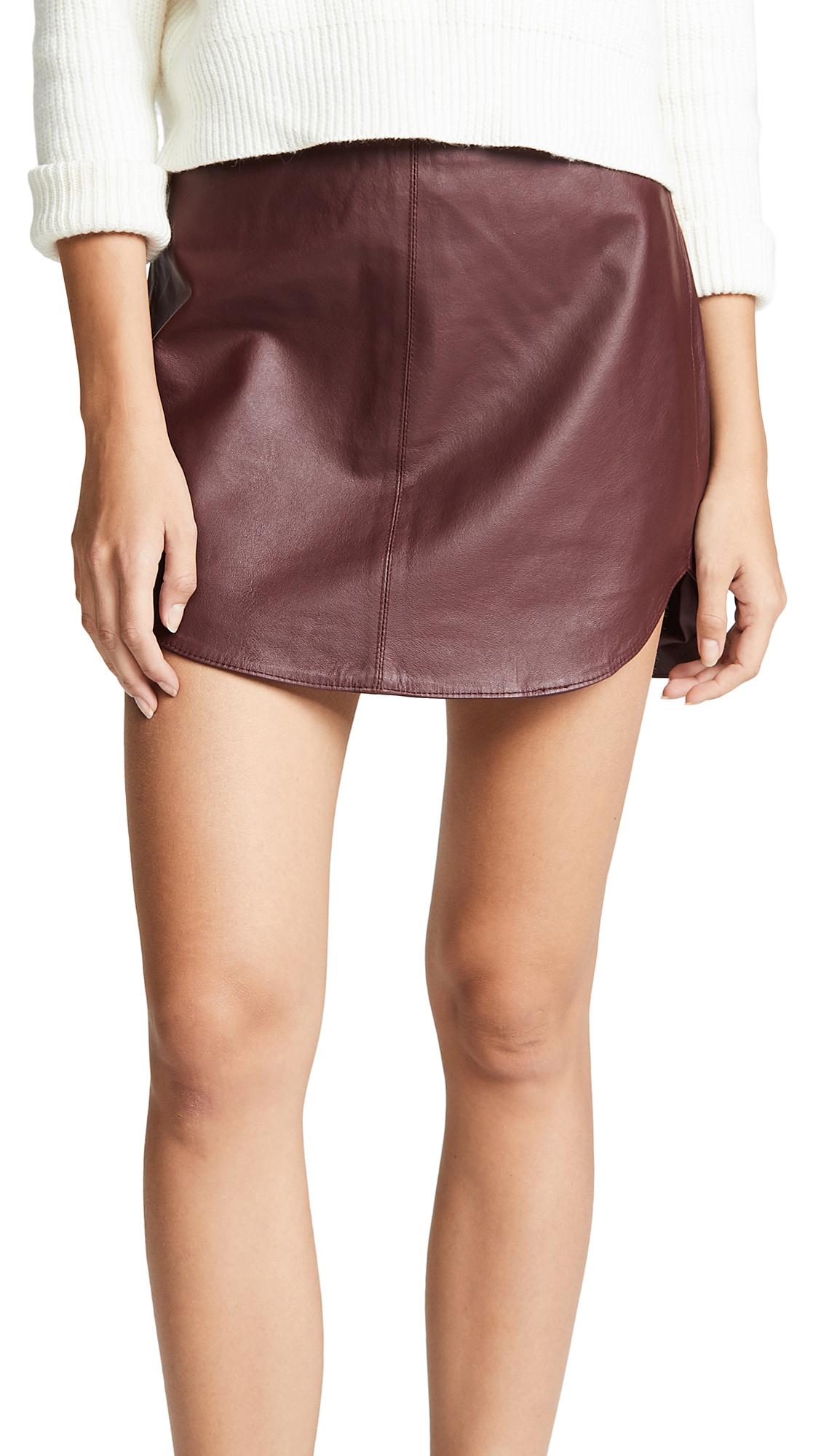 BB Dakota Conrad Leather Mini Skirt In Bordeaux