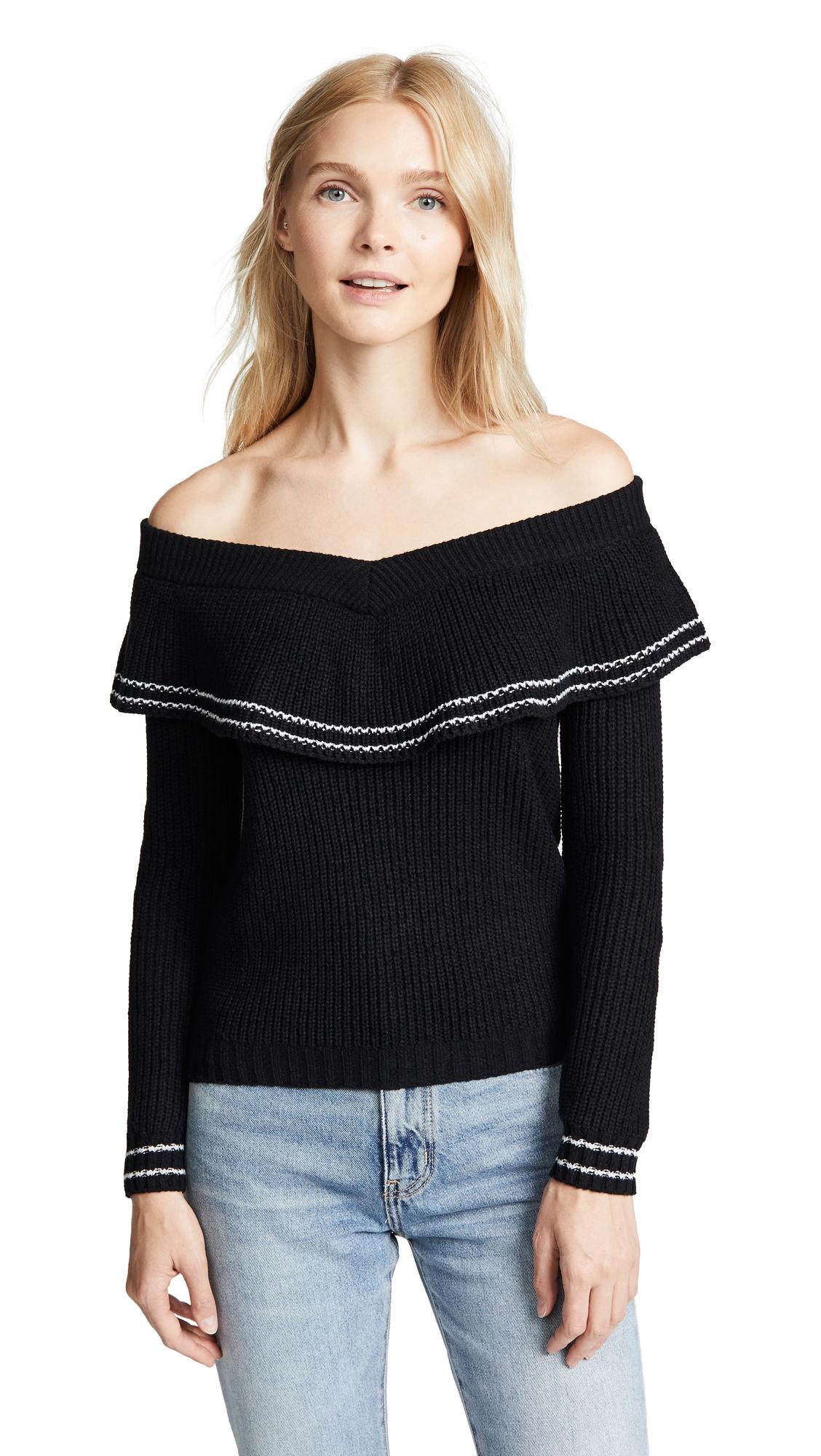 BB Dakota Rush Week Off Shoulder Ruffle Sweater - Black