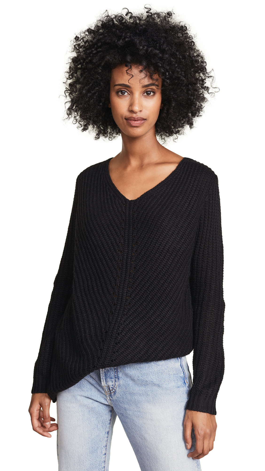 BB Dakota Bedroom Dancing Lace Up Sweater In Black