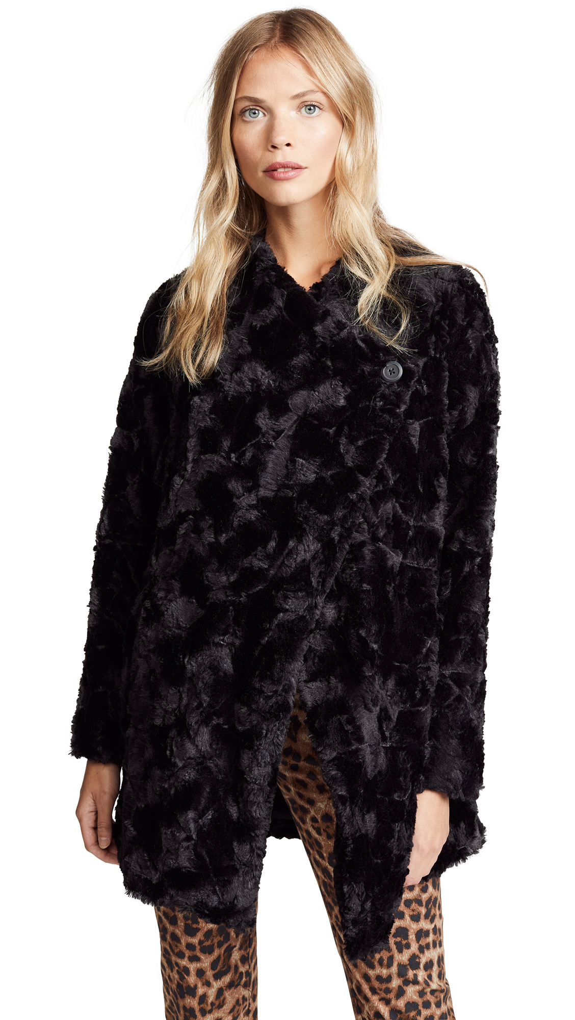 BB Dakota Tucker Faux Fur Drape Front Jacket In Black