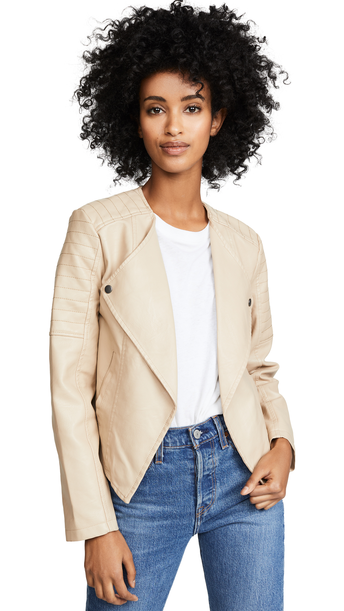 BB Dakota Jack by BB Dakota One More Time Drape Front Vegan Leather Jacket In Hazelwood