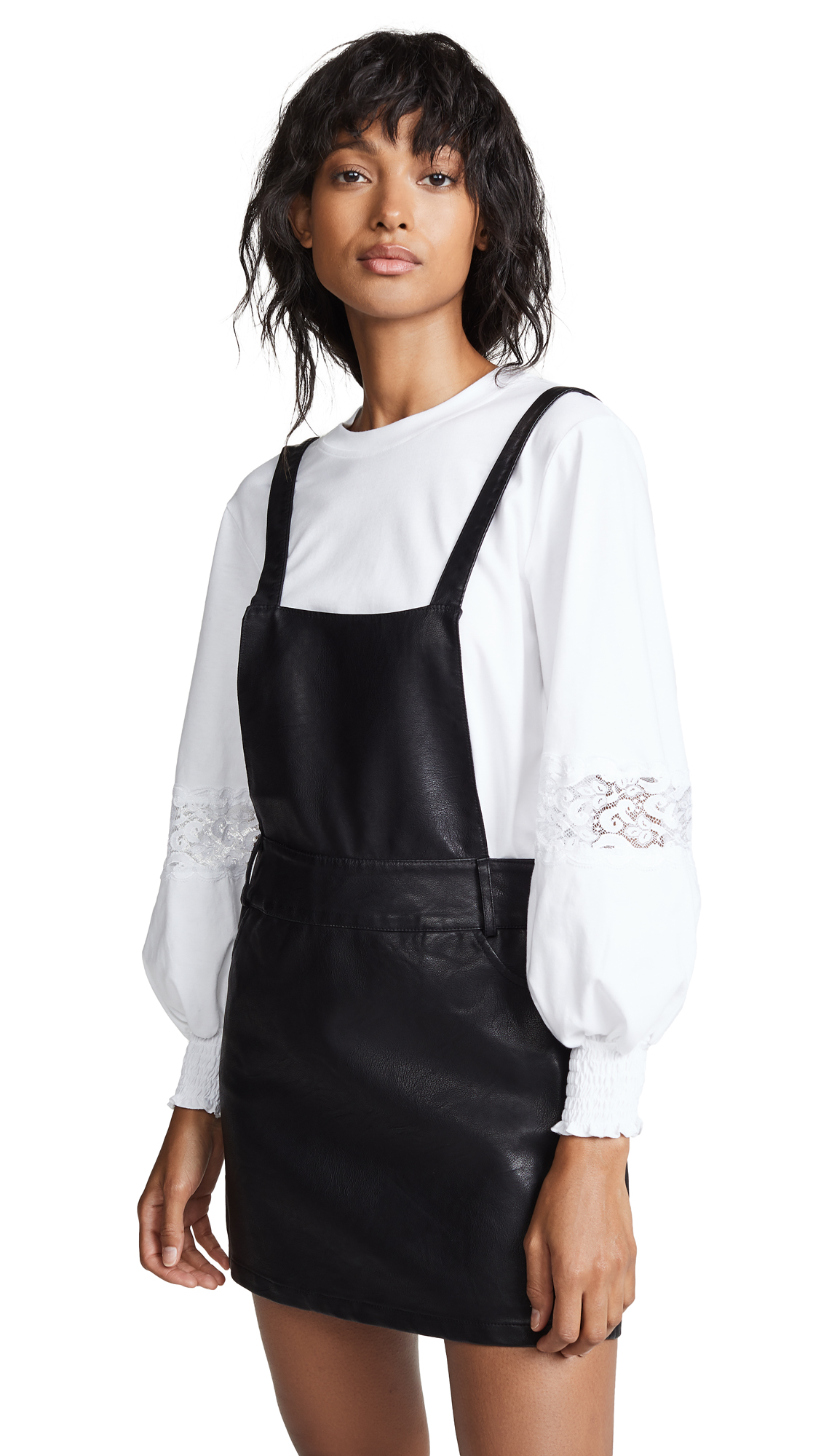 BB Dakota JACK Vegan Leather Pinafore Dress In Black