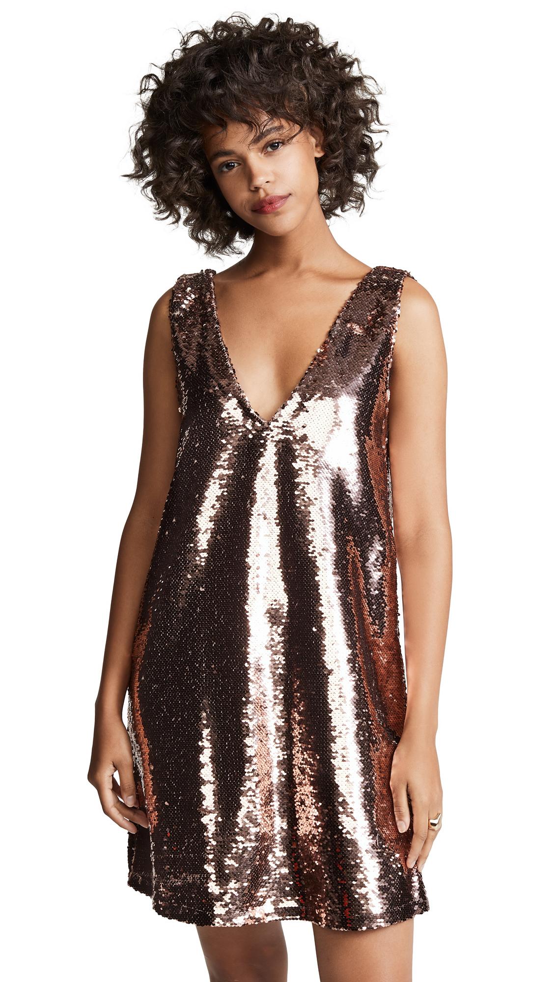 BB Dakota Sparkle Motion Shift Dress - Rose Gold