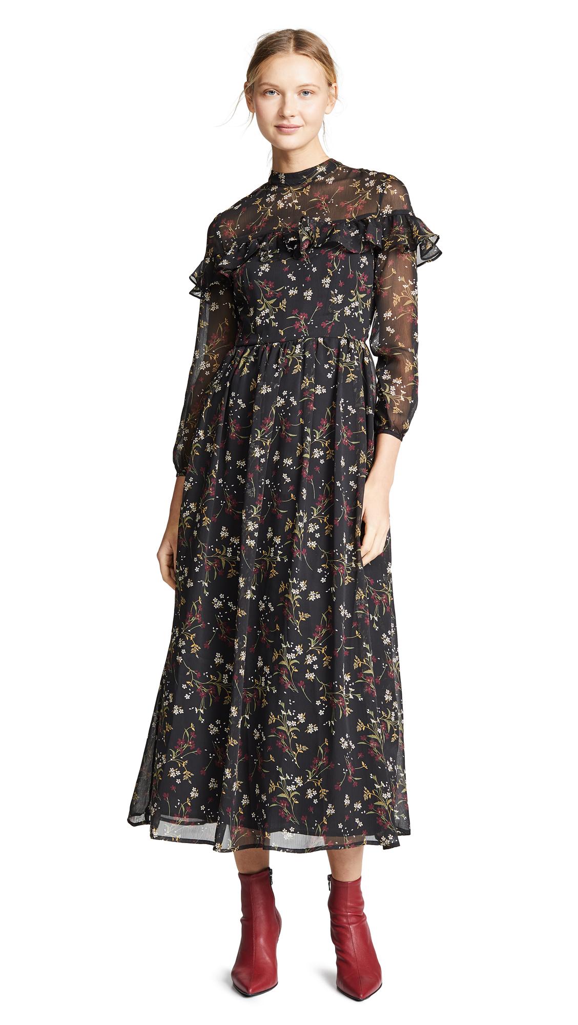 BB Dakota Floral Attire Chiffon Dress - Black