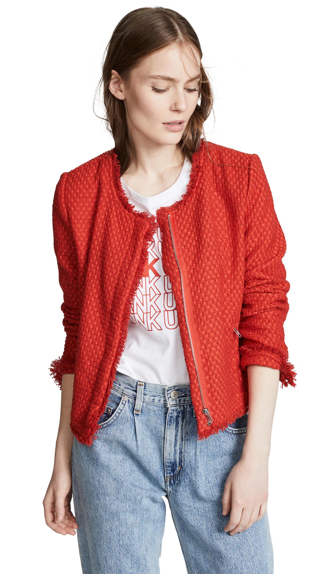 BB Dakota Feeling Fancy Tweed Jacket - Berry Red