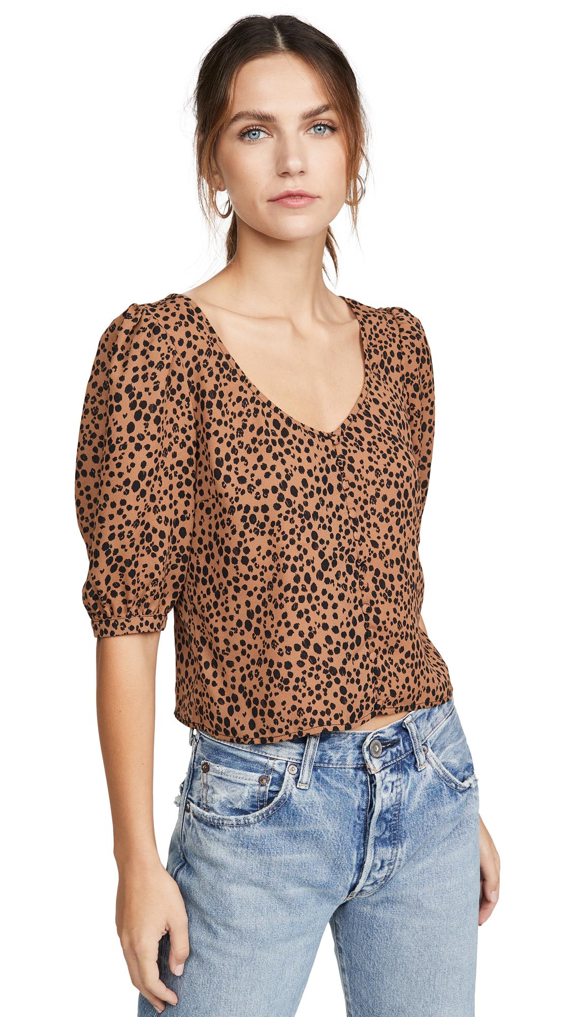 BB Dakota Cheetah Print Puff Sleeve Top - 60% Off Sale