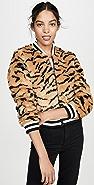 BB Dakota Tiger Beat Faux Fur Bomber