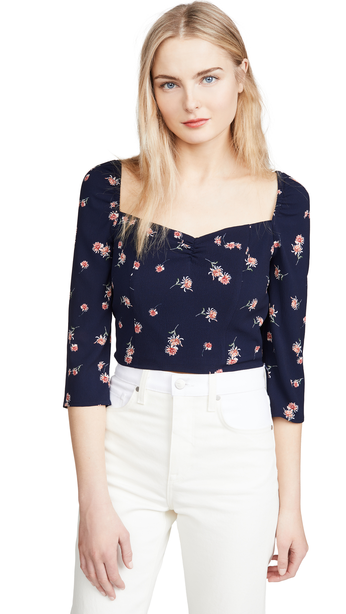 BB Dakota Scattered Daisy Printed Puff Sleeve Top – 40% Off Sale