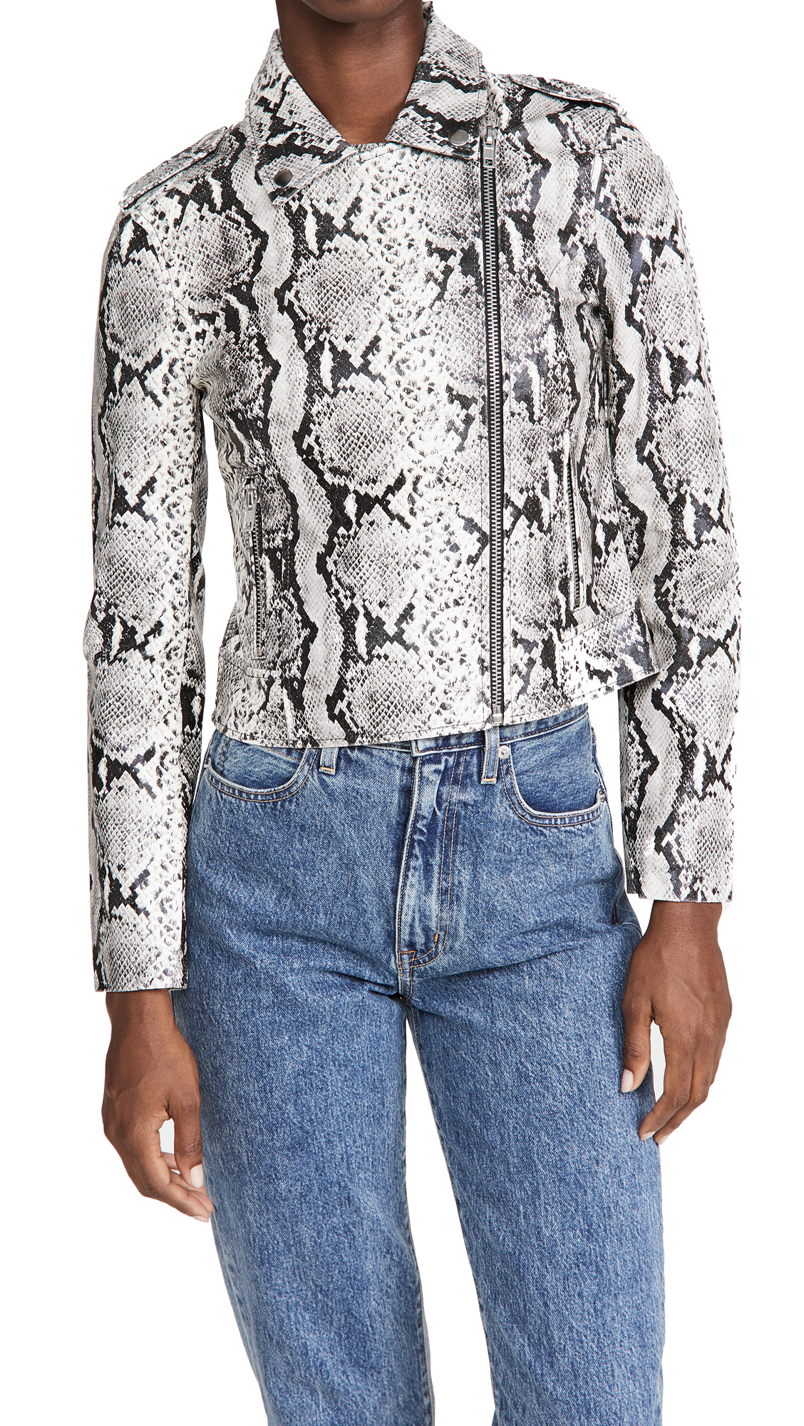 Bb Dakota WATCH OUT PYTHON VEGAN LEATHER MOTO JACKET