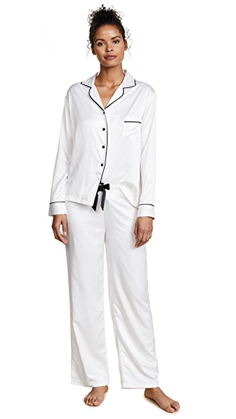 Bluebella Claudia Shirt and Pant Set In Cream/Black