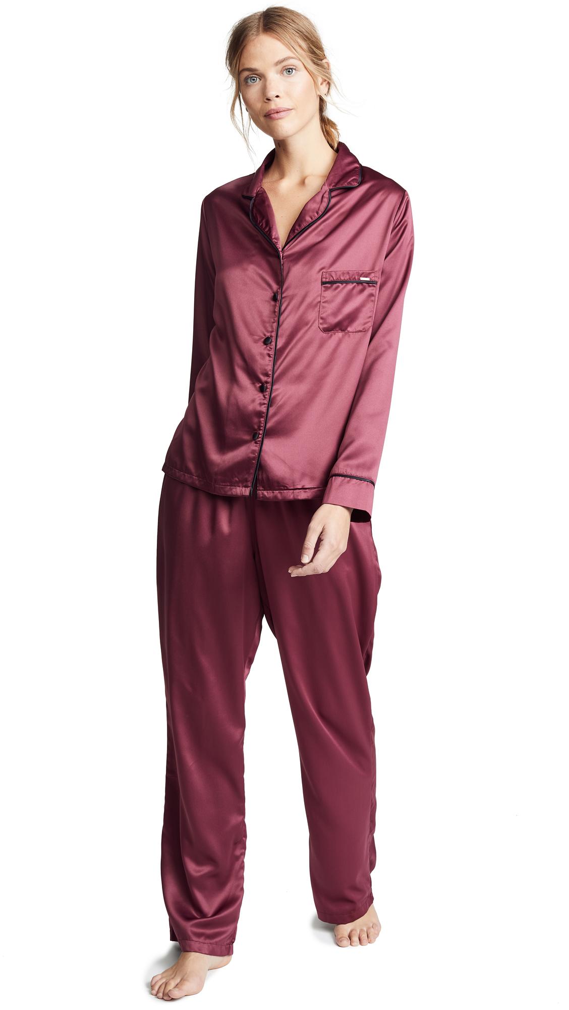 Bluebella Claudia Shirt and Pant Set - Cordovan/Black