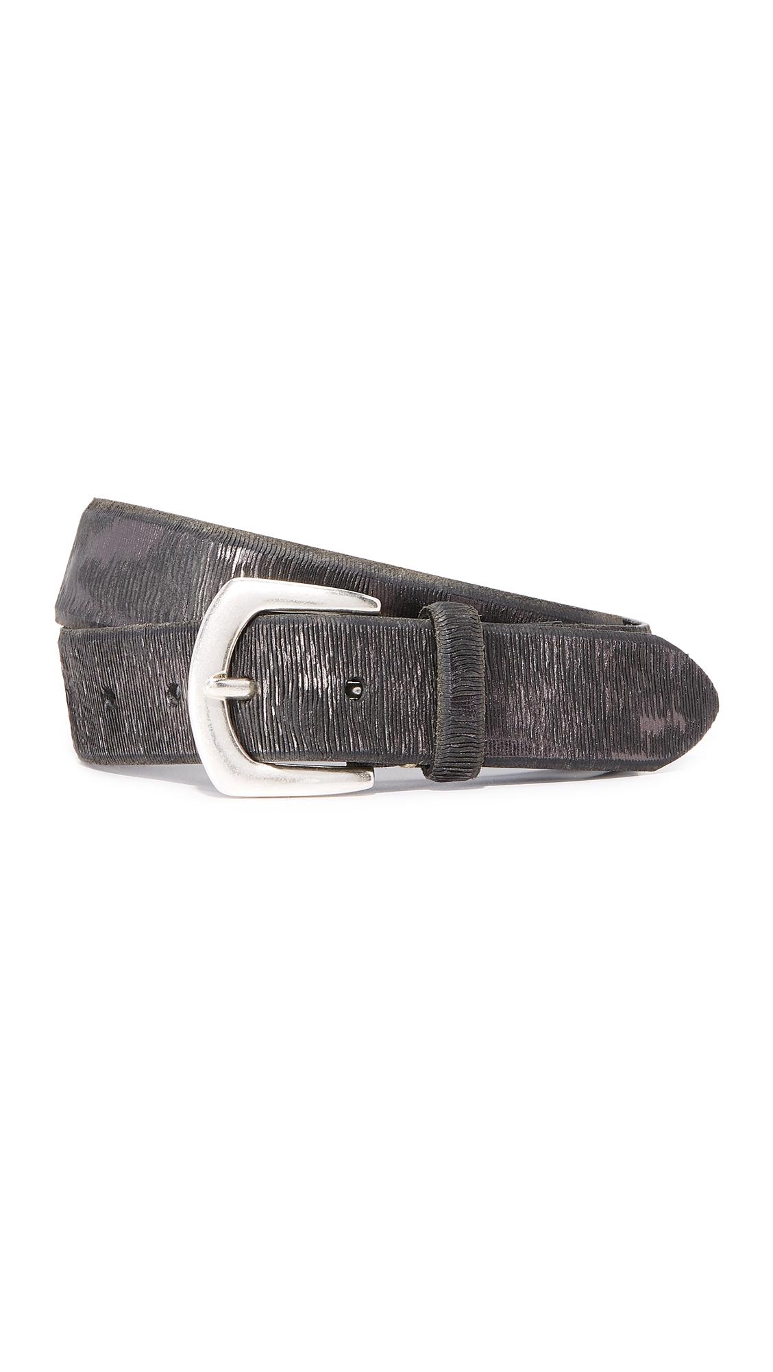 B. Belt Metallic Twill Print Belt - Black