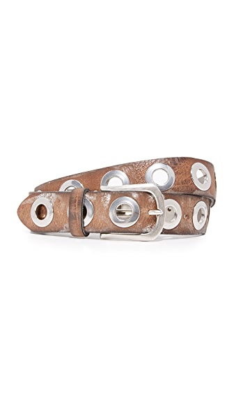 B. Belt Large Silver Ring Stud Belt - Taupe Brown