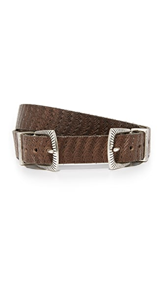B. Belt Thin Double Buckle Embossed Belt In Dark Brown