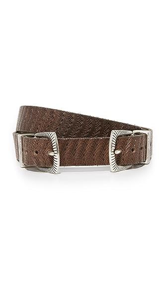 B. Belt Thin Double Buckle Embossed Belt - Dark Brown