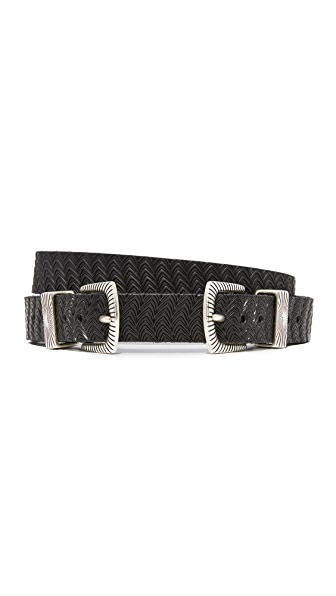 B. Belt Thin Double Buckle Embossed Belt In Black